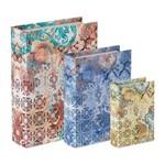 Conjunto de 3 Caixas Livro em Canvas Boho 9165 Mart