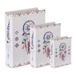 Conjunto de 3 Caixas Livro em Canvas Charm 9172 Mart