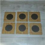 Conjunto de Descanso de Panela Quadrado Alumínio (madeira) 6 Peças
