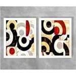 Conjunto de Dois Quadros Abstratos Semicírculos Abstrato D74A e D74B Branca 3cm