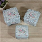 Conjunto de Latas Decorativas (rosa ou Azul) 3 Peças