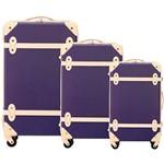 Conjunto de Malas 3 Peças (P, M e G) em ABS Roxo com Marfim - Yins