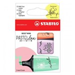 Conjunto de Marca Textos Pastel Love Boss Mini - Verde/lilás/coral - Stabilo