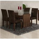 Conjunto de Mesa 1.20m Evidence com 4 Cadeiras Classic Malbec Tecido 83 Cel Móveis