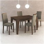 Conjunto de Mesa 1,36m + 4 Cadeiras de Jantar em Madeira CJ1000 Tecno Móbili - Tecno Móbili