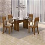 Conjunto de Mesa 120 Cm com 4 Cadeiras Hawai I Linho Canela e Bege