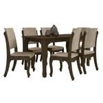 Conjunto de Mesa 160 Cm com 6 Cadeiras Onix Noce