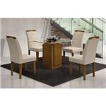 Conjunto de Mesa Amsterda 90 Cm com 4 Cadeiras Athenas Veludo Imbuia e Creme