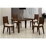 Conjunto de Mesa Bella 120 Cm com 4 Cadeiras Bella Veludo Castor e Creme