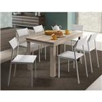 Conjunto de Mesa Carraro 1543 + 6 Cadeiras 1709 - Mdp Anis/Napa Branco