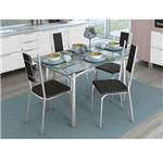 Conjunto de Mesa com 4 Cadeiras Diana Cromado com Preto