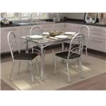 Conjunto de Mesa com 4 Cadeiras Gillian Cromado com Preto