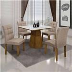 Conjunto de Mesa com 4 Cadeiras Itália I Canela e Bege