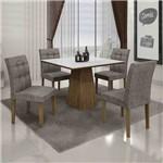 Conjunto de Mesa com 4 Cadeiras Itália I Ypê e Cinza