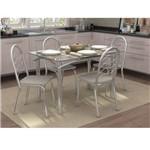 Conjunto de Mesa com 4 Cadeiras Liberatti Cromado com Linho Marrom
