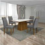 Conjunto de Mesa com 4 Cadeiras Pampulha I Canela e Cinza