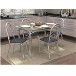 Conjunto de Mesa com 4 Cadeiras Sweet Cromado com Preto Linho Cinza