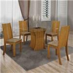 Conjunto de Mesa com 4 Cadeiras Vitória Suede Mel e Capuccino