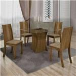 Conjunto de Mesa com 4 Cadeiras Vitória Suede Ypê e Capuccino