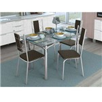 Conjunto de Mesa com 4 Cadeiras Ysabeau Cromado com Marrom