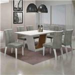 Conjunto de Mesa com 6 Cadeiras Alemanha I Branco e Cinza