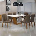 Conjunto de Mesa com 6 Cadeiras Alemanha I Imbuia Mel e Marrom