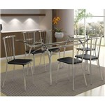 Conjunto de Mesa com 6 Cadeiras Angelina Napa Preto