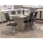 Conjunto de Mesa com 6 Cadeiras Mommentum Cromado com Preto