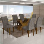 Conjunto de Mesa com 6 Cadeiras Olímpia I Linho Canela e Cinza