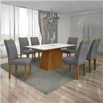Conjunto de Mesa com 6 Cadeiras Pampulha I Linho Imbuia Mel e Cinza