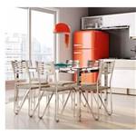 Conjunto de Mesa com 6 Cadeiras Peggy Cromado com Linho Marrom