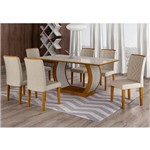 Conjunto de Mesa de Jantar com 6 Cadeiras Maia I Veludo Imbuia e Creme
