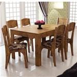 Conjunto de Mesa Extensível Dalla Costa Tm38 6 Cadeiras Ca12 Estofado Chenille Floral Escuro - Nobre
