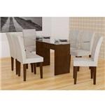 Conjunto de Mesa Grecia Castor 160 com 6 Cadeiras Grecia Castor Veludo Creme - Rufato