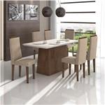 Conjunto de Mesa Imbuia/bege Nevada com Vidro Offwhite com 6 Cadeiras Dafne - Lopas