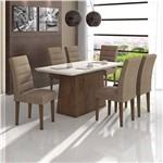 Conjunto de Mesa Imbuia/bege Nevada com Vidro Offwhite com 6 Cadeiras Fiorella - Lopas