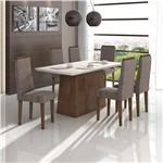 Conjunto de Mesa Imbuia/castor Nevada com Vidro Offwhite com 6 Cadeiras Dafne - Lopas