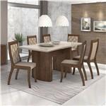 Conjunto de Mesa Imbuia/creme com 6 Cadeiras Merengue - Lopas