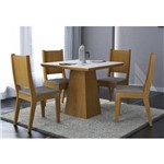 Conjunto de Mesa Luna - 90 C/ 04 Cadeiras Bella - Imbuia/ Branco/ Animalle Chocolate