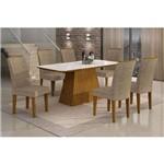 Conjunto de Mesa Lunara I 180 Cm com 6 Cadeiras Suede Amassado Imbuia e Chocolate