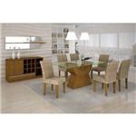 Conjunto de Mesa Malta 160 Cm com 6 Cadeiras Grecia Suede Amassado Imbuia e Chocolate