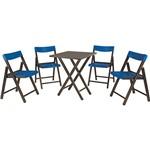 Conjunto de Mesa para Bar Potenza com 4 Cadeiras Tabaco com Azul - Tramontina