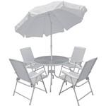 Conjunto de Mesa para Jardim Malibu com 4 Cadeiras Branco - Mor