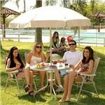 Conjunto de Mesa para Jardim Redonda Malibu com 4 Cadeiras Bege - Mor