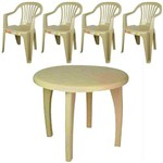 Conjunto de Mesa Redonda e 4 Cadeiras Poltrona Bege - Antares