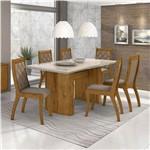 Conjunto de Mesa Rovere/bege com 6 Cadeiras Merengue - Lopas
