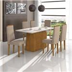 Conjunto de Mesa Rovere/bege Nevada com Vidro Offwhite com 6 Cadeiras Dafne - Lopas