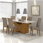 Conjunto de Mesa Rovere/bege Rock 1,80m com 6 Cadeiras Apogeu - Lopas