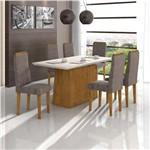 Conjunto de Mesa Rovere/castor Nevada com Vidro Offwhite com 6 Cadeiras Dafne - Lopas