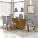 Conjunto de Mesa Rovere/cinza Rock 1,60m Vidro Incolor com 6 Cadeiras Apogeu - Lopas